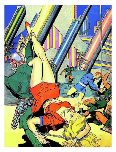Wall Art - Painting - Space Fight, Sci-fi Comic Book Cover by Long Shot