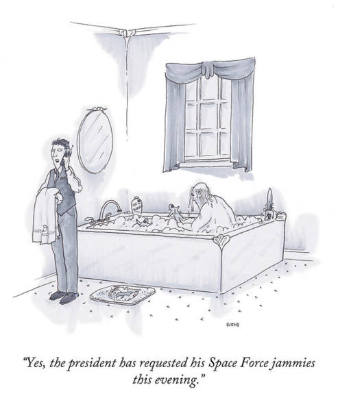 August 10 Drawing - Space Force Jammies by Teresa Burns Parkhurst