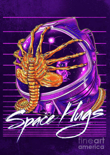 Outer Space Digital Art - Space Hugs by Zerobriant Designs