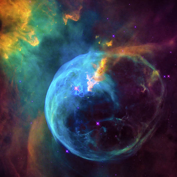 Photograph - Space Image Colorful Bubble Nebula by Matthias Hauser