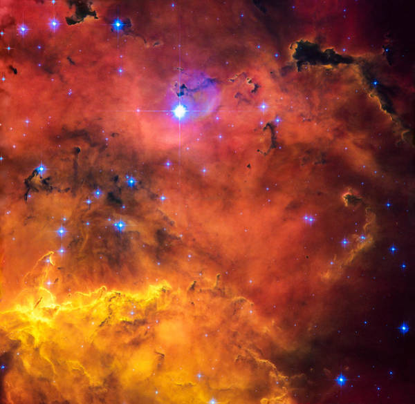 Digital Art - Space Image Red Orange And Yellow Nebula by Matthias Hauser