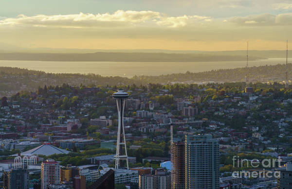 Safeco Field Photograph - Space Needle And Queen Anne Golden Light by Mike Reid