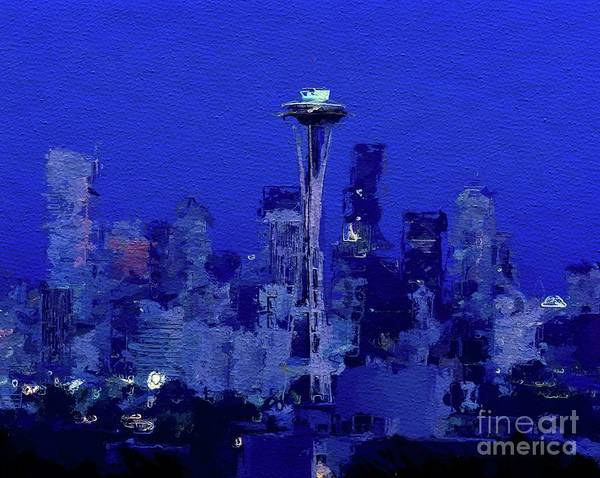 Needles Painting - Space Needle, Seattle by Mary Bassett