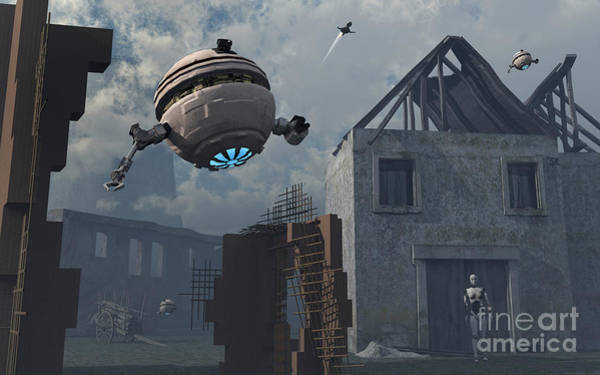Extraterrestrial Digital Art - Space Probes And Androids Survey An by Mark Stevenson
