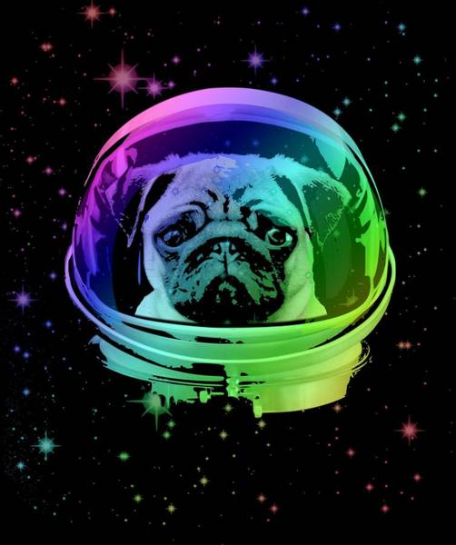 Neon Mixed Media - Space Pug by Filip Hellman