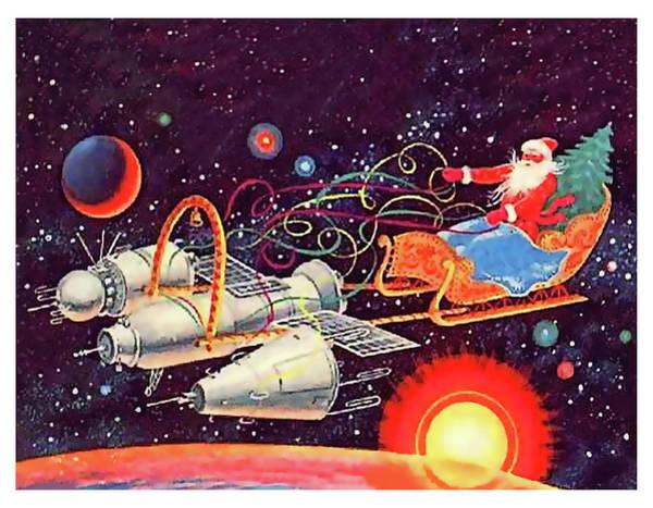 Space Mixed Media - Space Santa Claus by Long Shot