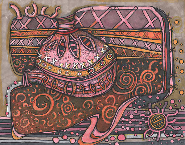 Semi Abstract Drawing - Space Ship Dream by Sandra Church