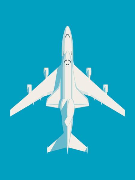 Space Ship Digital Art - Space Shuttle And 747 Transport Jet - Cyan by Ivan Krpan
