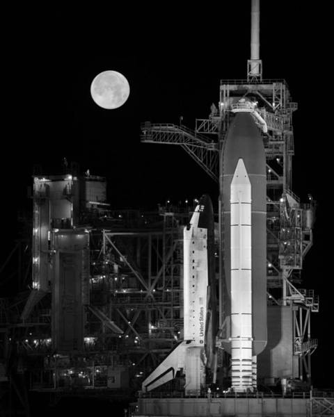 Space Shuttle Photograph - Space Shuttle Discovery On Launch Pad by War Is Hell Store