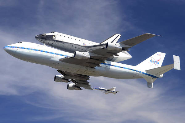 747 Photograph - Space Shuttle Endeavour Over Lax With Hornet Chase Plane September 21 2012 by Brian Lockett