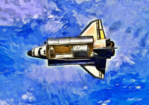 Space Shuttle Painting - Space Shuttle In Space - Pa by Leonardo Digenio