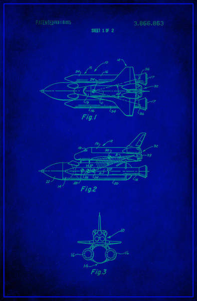 Space Exploration Mixed Media - Space Shuttle Patent Drawing 1e by Brian Reaves