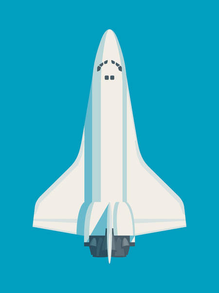 Space Ship Digital Art - Space Shuttle Spacecraft - Cyan by Ivan Krpan