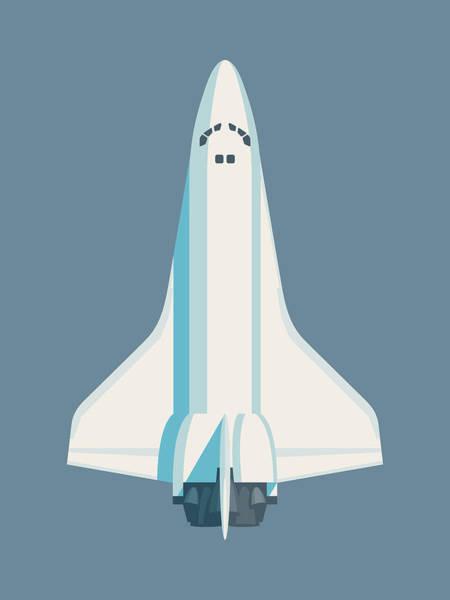 Space Ship Digital Art - Space Shuttle Spacecraft - Slate by Ivan Krpan