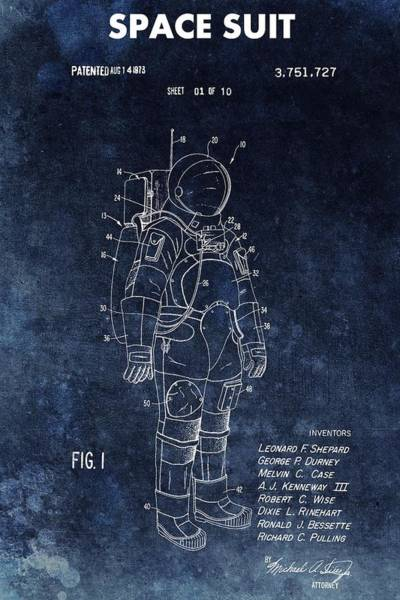 Wall Art - Drawing - Space Suit Patent Illustration by Dan Sproul