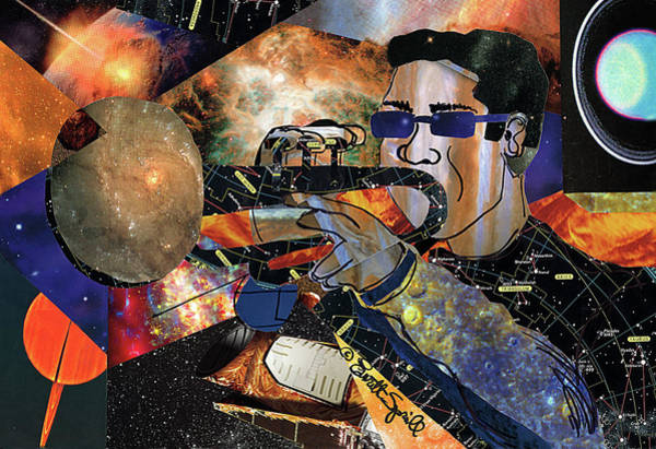 Trumpet Mixed Media - Space Trumpet by Everett Spruill