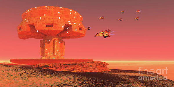 Wall Art - Digital Art - Spaceport On Mars by Corey Ford