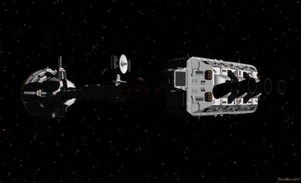 Digital Art - Spaceship Uss Cumberland Traveling Through Deep Space by David Robinson