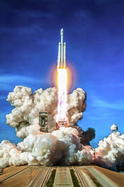 Photograph - Spacex Falcon Heavy Rocket Launch by Matthias Hauser