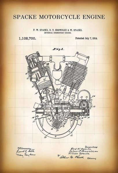 Exhaust Digital Art - Spacke Motorcycle Engine Patent 1914 by Daniel Hagerman