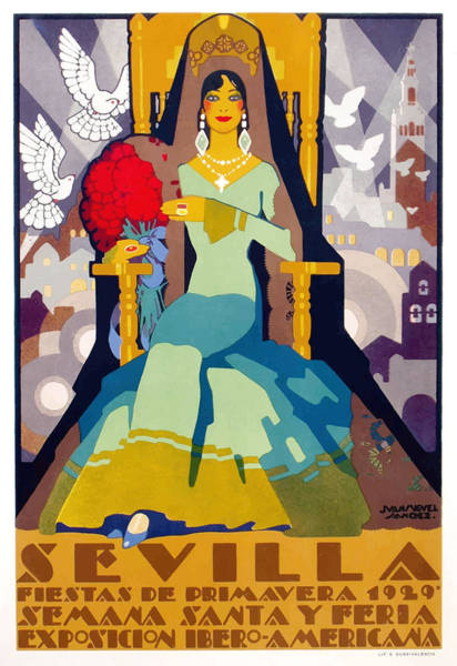 Andalusia Wall Art - Digital Art - Spain 1929 Seville April Fair Poster by Retro Graphics