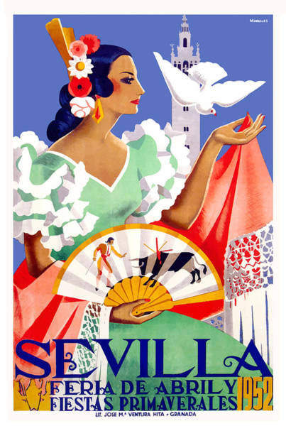 Andalusia Wall Art - Digital Art - 1952 Seville Spain April Fair Poster by Retro Graphics