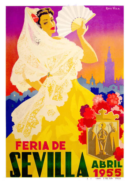 Andalusia Wall Art - Digital Art - Spain 1955 Seville April Fair Poster by Retro Graphics