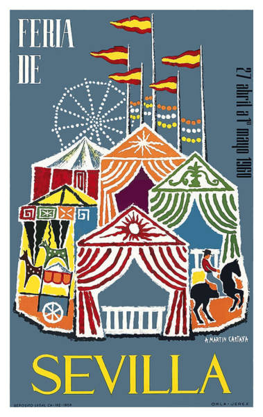 Andalusia Wall Art - Digital Art - Spain 1960 Seville Festival Poster by Retro Graphics