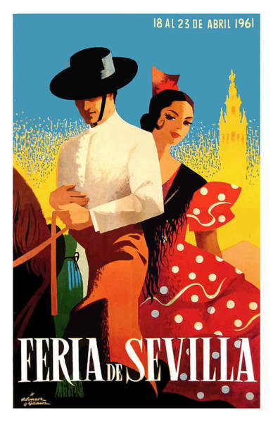Andalusia Wall Art - Digital Art - Spain 1961 Seville April Fair Poster by Retro Graphics
