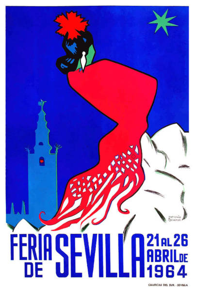 Andalusia Wall Art - Digital Art - Spain 1964 Seville April Fair Poster by Retro Graphics