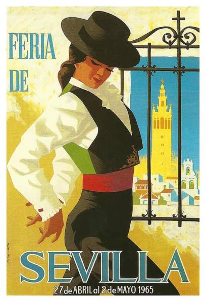 Andalusia Wall Art - Digital Art - 1965 Seville Spain April Fair Poster by Retro Graphics
