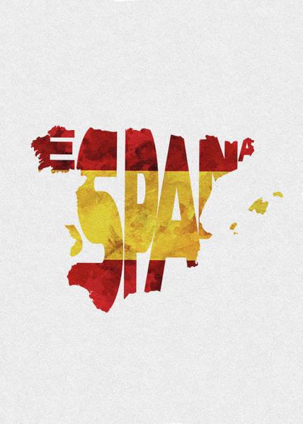 Wall Art - Digital Art - Spain Typographic Map Flag by Inspirowl Design
