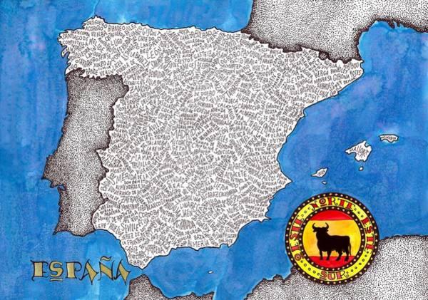 Primary Colors Drawing - Spain Word Map by Terri Kelleher