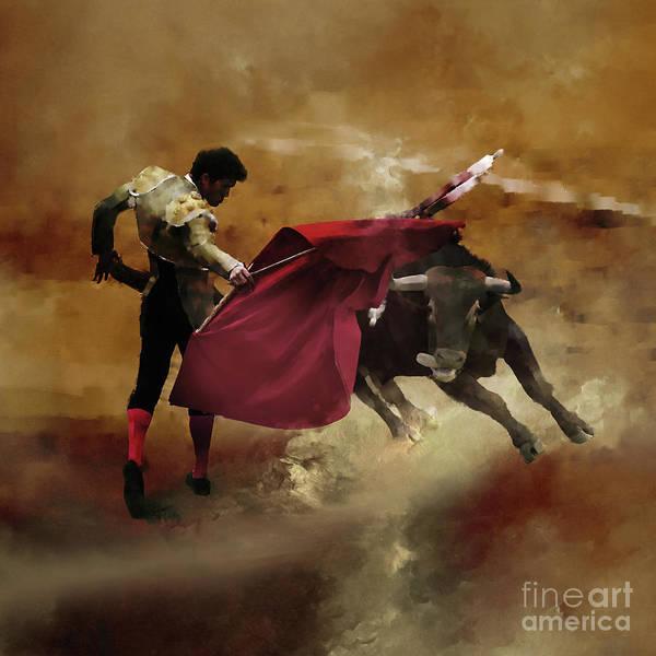 Torero Wall Art - Painting - Spanish Bullfighting Game  by Gull G