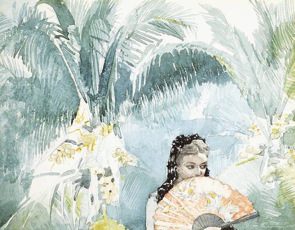 Latino Painting - Spanish Girl With A Fan by Winslow Homer