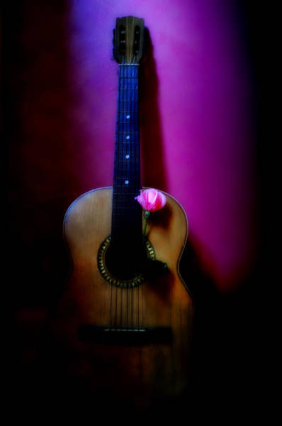 Spanish Guitar Wall Art - Photograph - Spanish Guitar And Pink Rose by Bill Cannon