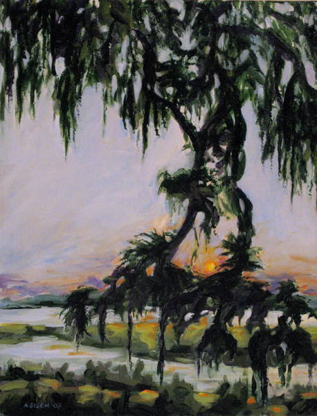Painting - Spanish Moss Sunset by Outre Art  Natalie Eisen