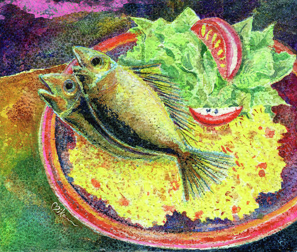 Wall Art - Painting - Spanish Rice With Fish by Miko At The Love Art Shop