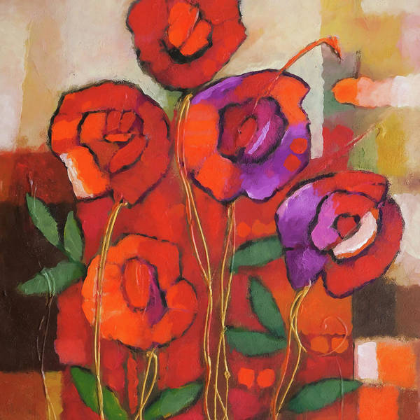 Wall Art - Painting - Spanish Roses Square by Lutz Baar