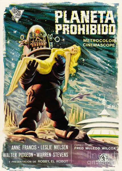Leslie Nielsen Painting - Spanish Version Of Forbidden Planet In Cinemascope Retro Classic Movie Poster by R Muirhead Art