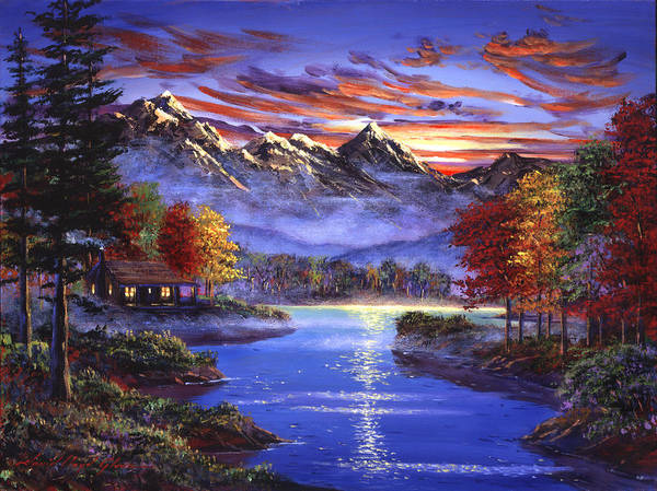 Mountain Lake Painting - Sparkling Lake by David Lloyd Glover