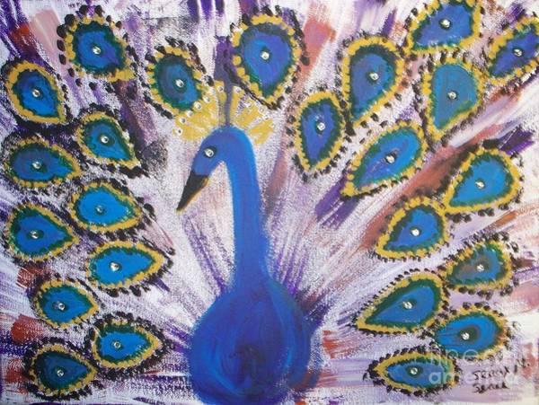 Note Book Painting - Sparkling Purple Peacock by Seaux-N-Seau Soileau