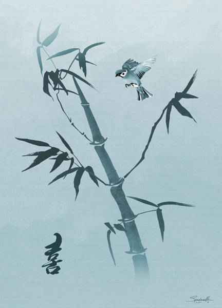 Digital Art - Sparrow And Bamboo by M Spadecaller