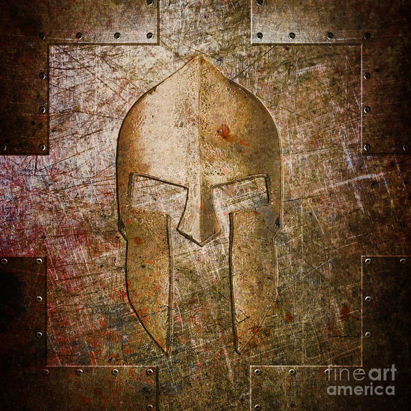 Digital Art - Spartan Helmet On Metal Sheet With Copper Hue by Fred Ber