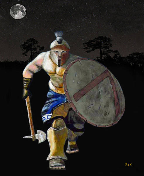Hundred Mixed Media - Spartan Warrior Charge by Eric Kempson