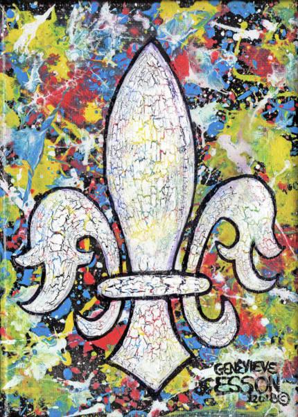 Fleur De Lys Painting - Spatter Paint Fleur De Lys by Genevieve Esson
