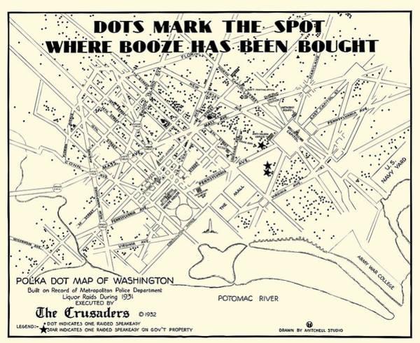 Wall Art - Photograph - Speakeasy Prohibition Map Of Washington D. C.  1932 by Daniel Hagerman