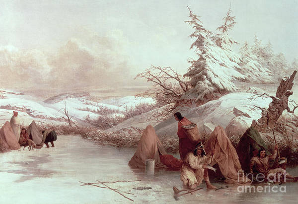 Skill Painting - Spearing Fish In Winter  by Captain Seth Eastman