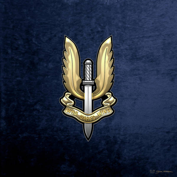 Digital Art - Special Air Service - S A S Badge Over Blue Velvet by Serge Averbukh