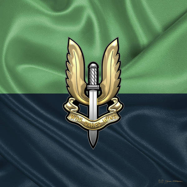 Digital Art - Special Air Service - S A S Badge Over Flag by Serge Averbukh